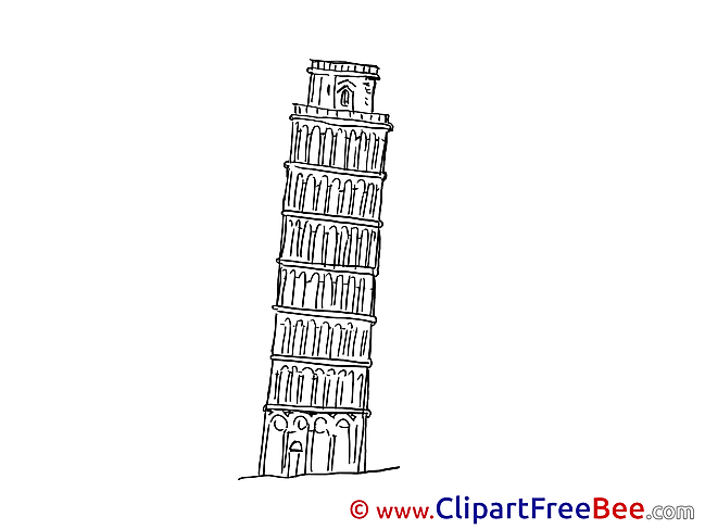 Leaning Tower Pisa printable Illustrations for free