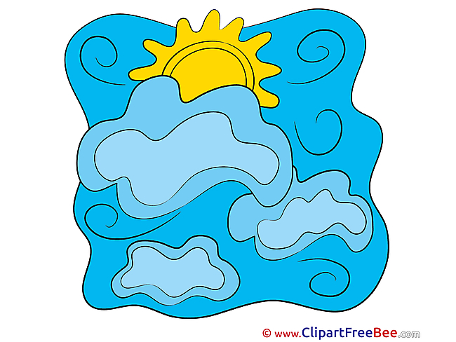 Drawing Sun Clouds printable Illustrations for free