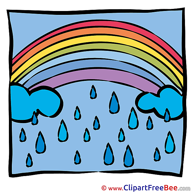 Spring Rain Rainbow download printable Illustrations