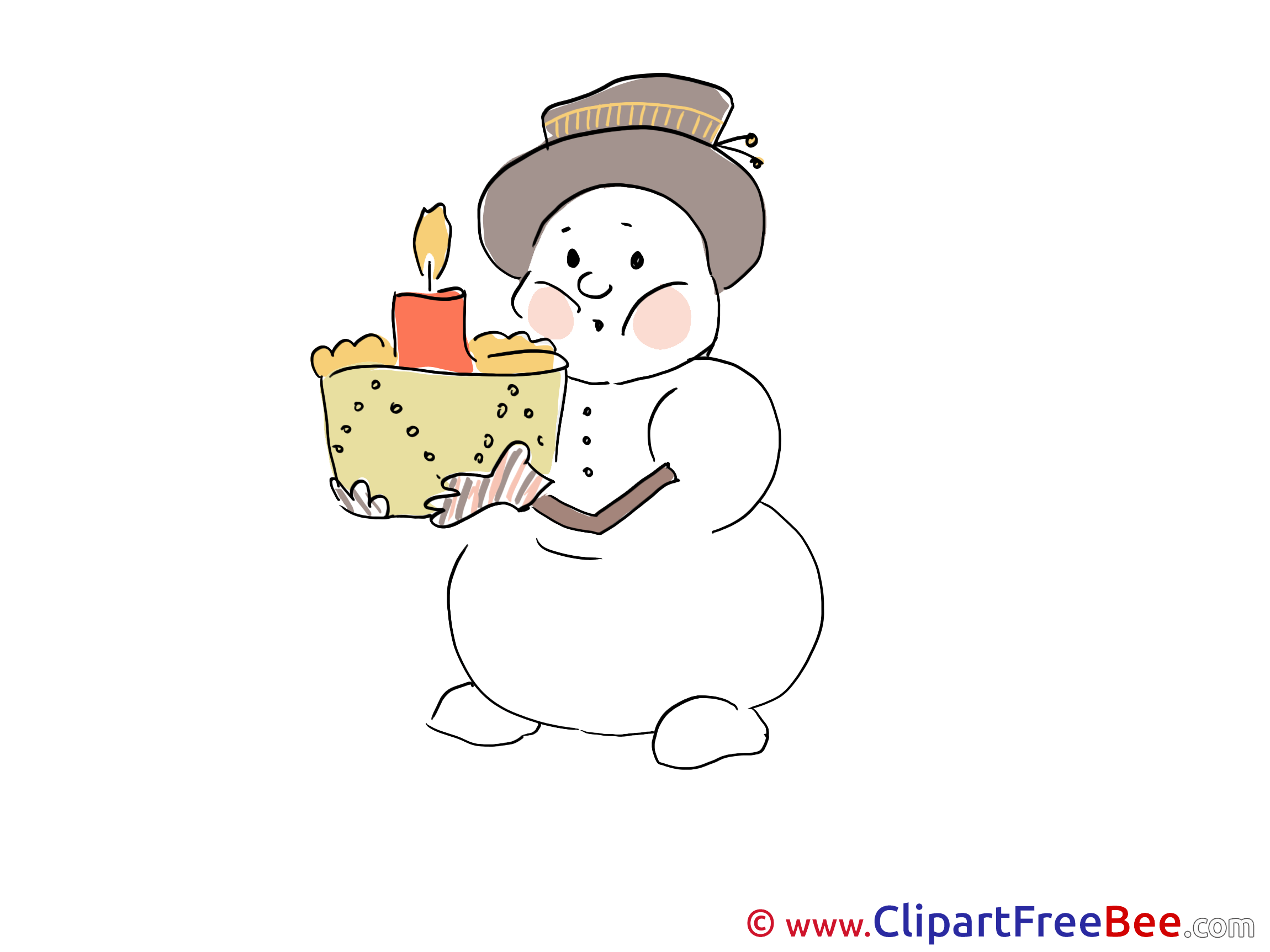 Cake Snowman printable Winter Images