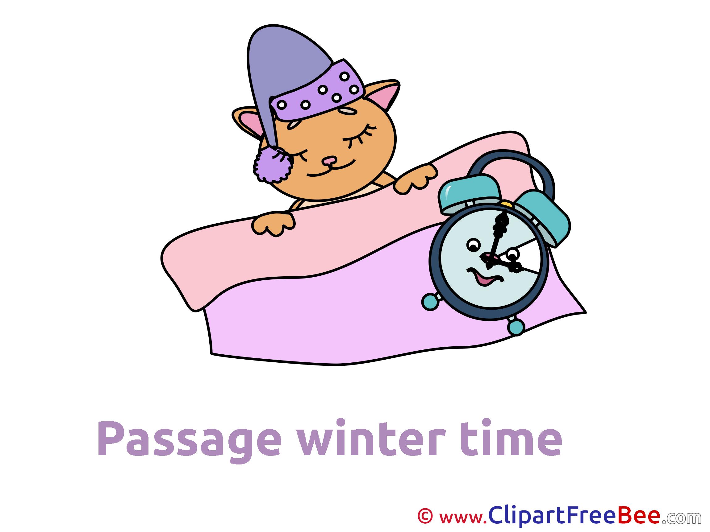 Cat sleeps Clock printable Winter Images