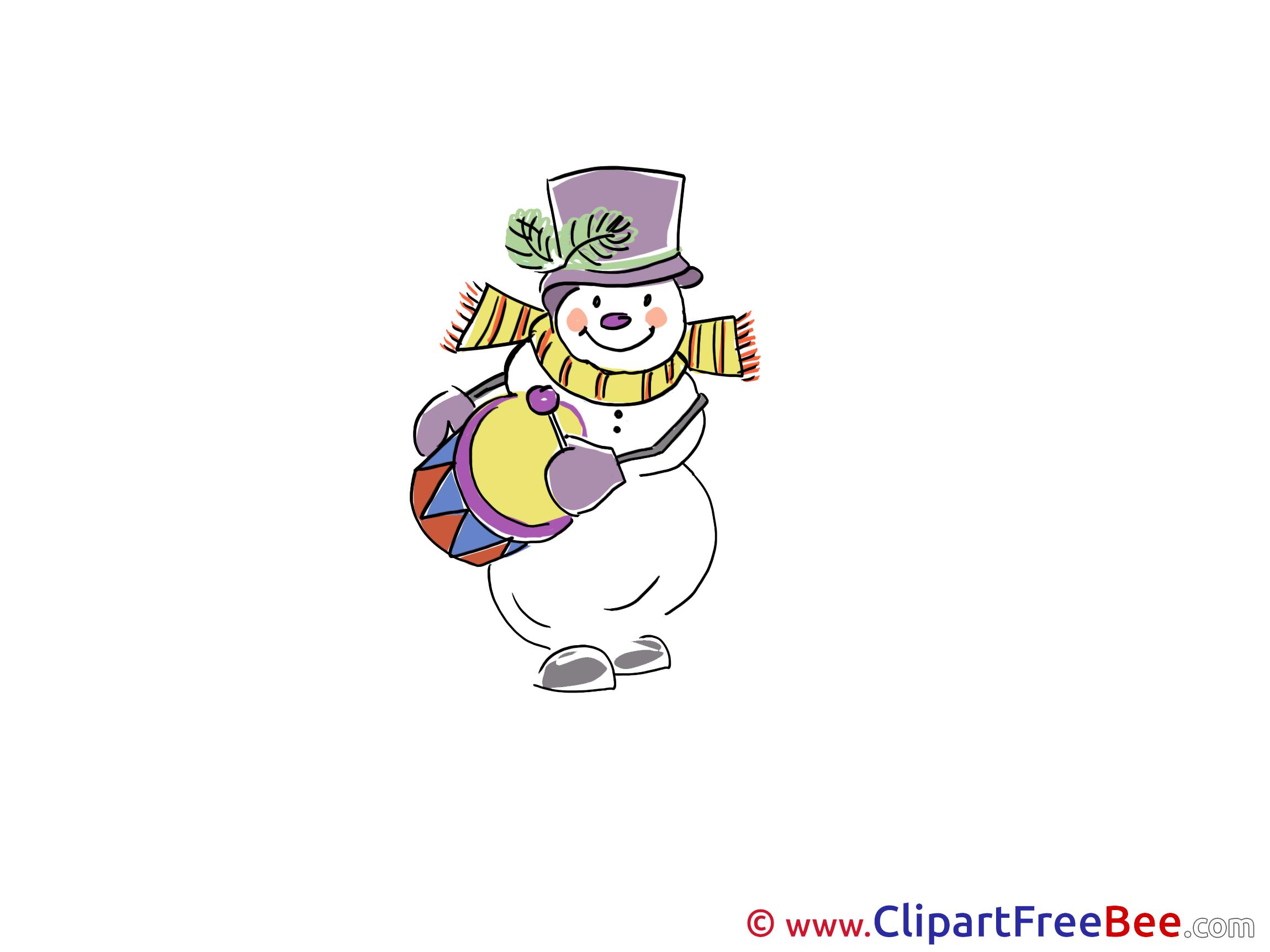 Drum Snowman Pics Winter Illustration