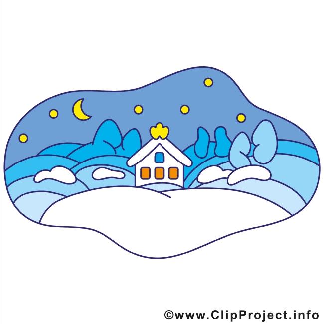 Small Town Winter Clip Art gratis