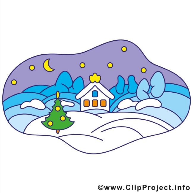 Village in Winter Clipart Image gratis