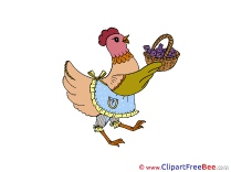 Hen with Basket Clipart free Illustrations