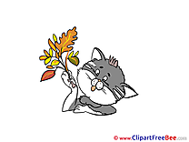 Autumn Cat Leaves Clip Art for free