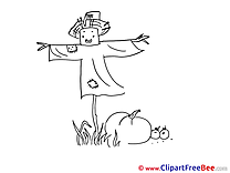 Coloring Scarecrow Cliparts Autumn for free