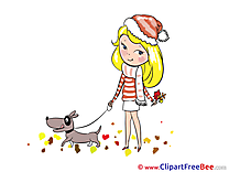 Dog beautiful Girl Autumn Clip Art for free