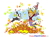 Dog Girl Leaves Clipart Autumn free Images