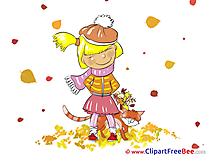 Falling Leaves Girl printable Autumn Images