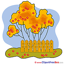 Fence Tree Autumn Clip Art for free