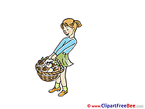 Girl with Basket Mushrooms Autumn free Images download