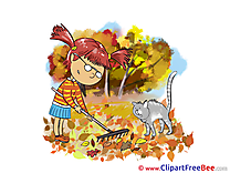 Rake Cat printable Autumn Images