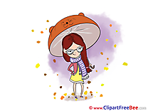 Umbrella Girl Clip Art download Autumn