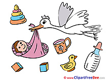 Birth Stork free Illustration Baby