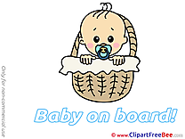 Basket Cliparts Baby on board for free