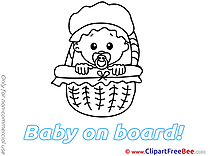 Basket Girl Pics Baby on board free Image