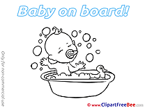 Bathing Pics Baby on board Illustration