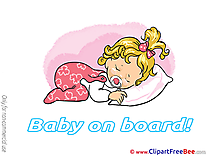 Bed free Illustration Baby on board