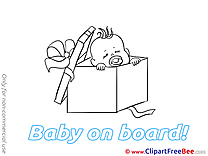 Box printable Illustrations Baby on board