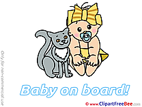 Cat Pics Baby on board free Cliparts