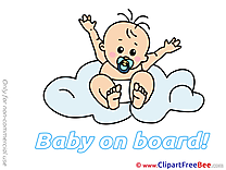 Cloud printable Illustrations Baby on board