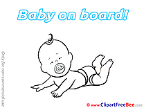 Coloring lying Pics Baby on board free Image