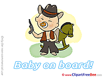 Cowboy Horse printable Baby on board Images