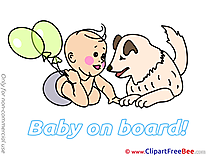 Dog Balloons free Illustration Baby on board