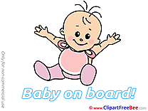 Happy Clipart Baby on board Illustrations
