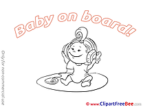 Headphones Baby on board Clip Art for free