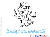 Horse Cowboy free Illustration Baby on board