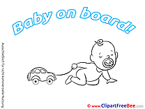 Little Car Baby on board Illustrations for free