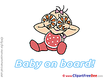 Orange free Illustration Baby on board