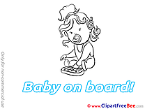 Piano Baby on board Clip Art for free
