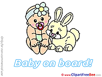 Rabbit Pics Baby on board free Image