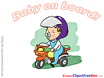 Scooter printable Illustrations Baby on board