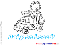 Truck download Baby on board Illustrations