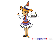 Girl Cake Birthday download Illustration