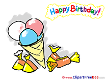 Ice Cream Candies printable Greeting Cards Birthday