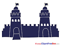 Flags Towers Wall Castle Clipart free Illustrations