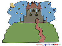 Night Stars Moon Castle printable Illustrations for free
