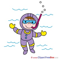 Diver Aqualung printable Illustrations for free
