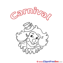 Clown Coloring printable Carnival Images