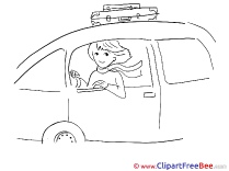 Travelling Woman  Car Pics printable Cliparts