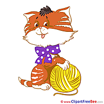 Ball of Yarn Cat printable Illustrations for free