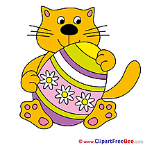 Flowers Egg Easter Cat Clipart free Illustrations