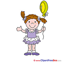 Balloon Girl Cliparts printable for free