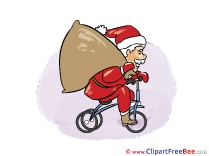 Bicycle Santa Claus Christmas download Illustration