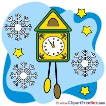 Clock Snowflakes Pics Christmas free Image